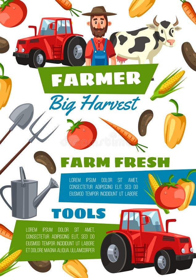 Agricoltore, attrezzature, verdure e trattore felici illustrazione di stock
