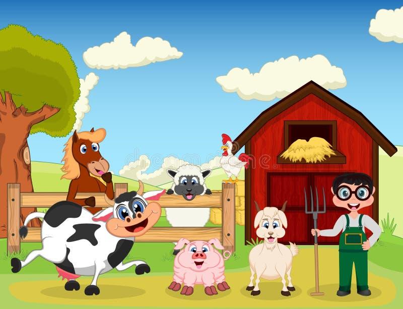 Agricoltore, capra, maiale, cavallo, capra, pecore, pollo e mucca sul fumetto dell'azienda agricola illustrazione di stock