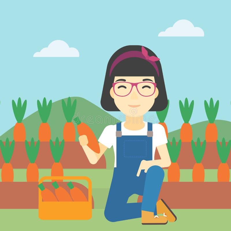 Agricoltore che raccoglie l'illustrazione di vettore delle carote royalty illustrazione gratis