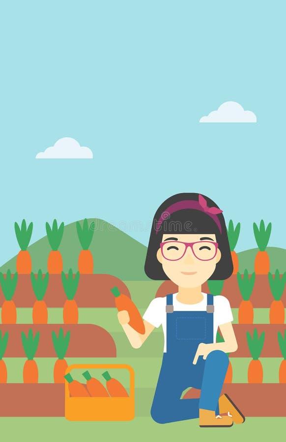 Agricoltore che raccoglie l'illustrazione di vettore delle carote illustrazione vettoriale