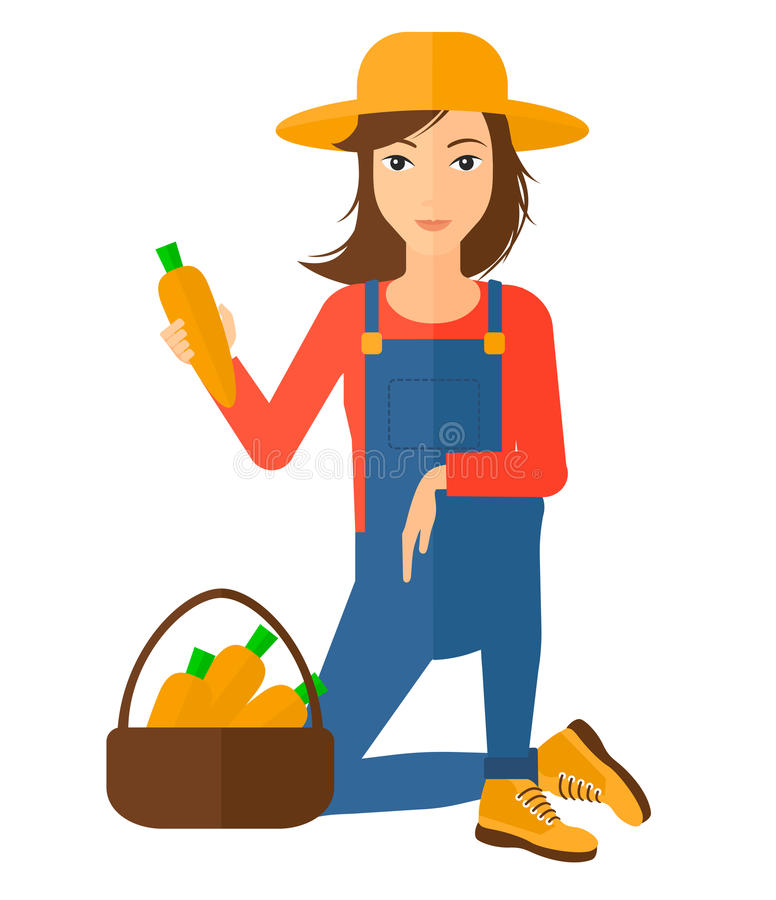 Agricoltore che raccoglie le carote illustrazione vettoriale