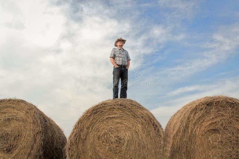 Agricoltore che sta su una balla di fieno enorme sotto un cielo di estate immagine stock