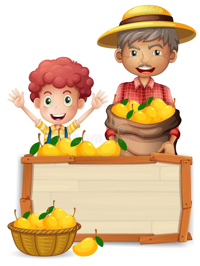 Agricoltore con l'insegna di legno del mango illustrazione vettoriale
