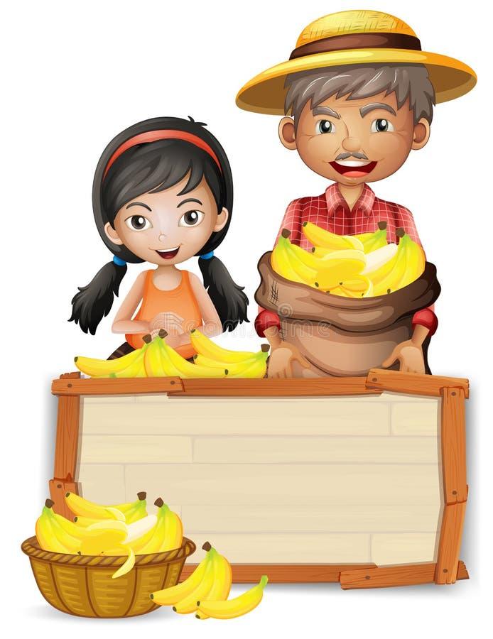 Agricoltore con l'insegna di legno della banana illustrazione di stock