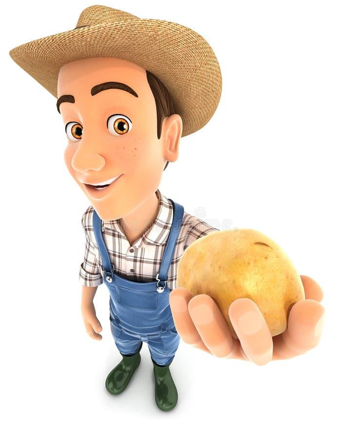 agricoltore 3d che tiene una patata fotografia stock libera da diritti