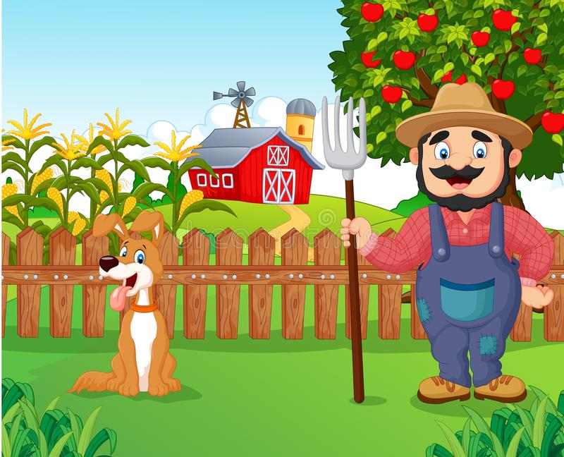 Agricoltore del fumetto che tiene un rastrello con il cane royalty illustrazione gratis