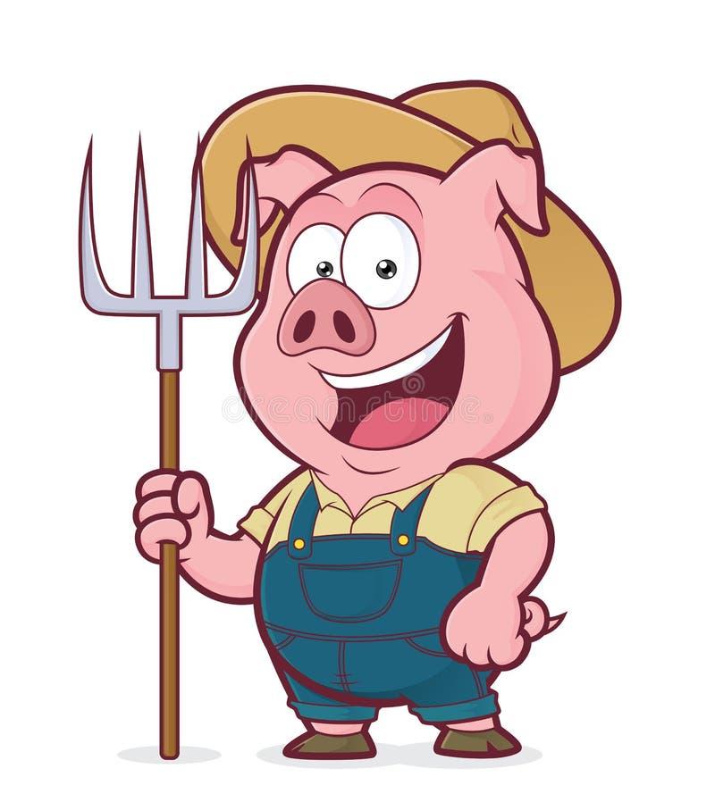 Agricoltore di maiale che tiene un rastrello royalty illustrazione gratis