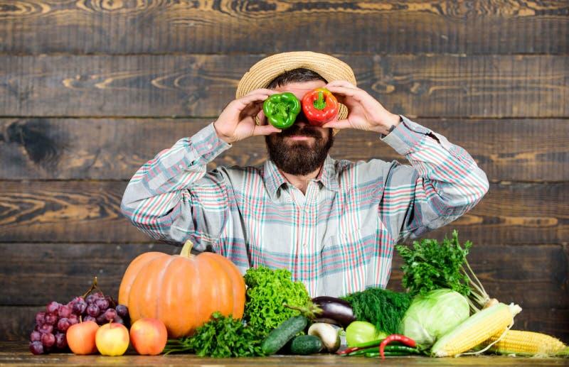 Agricoltore divertendosi fondo di legno Raccolto del pepe della tenuta dell'uomo come smorfia emozionale divertente Concetto del  immagini stock