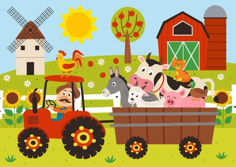 agricoltore ed animali da allevamento che guidano un trattore con un rimorchio illustrazione vettoriale