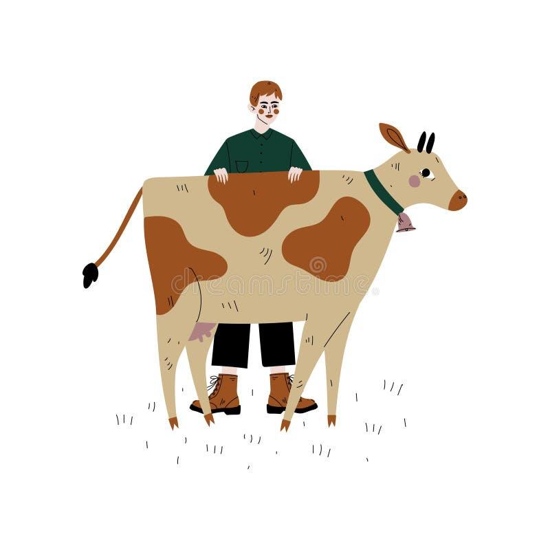 Agricoltore maschio Standing Next alla mucca macchiata, illustrazione di vettore di allevamento di zootecnia dei bovini da latte royalty illustrazione gratis