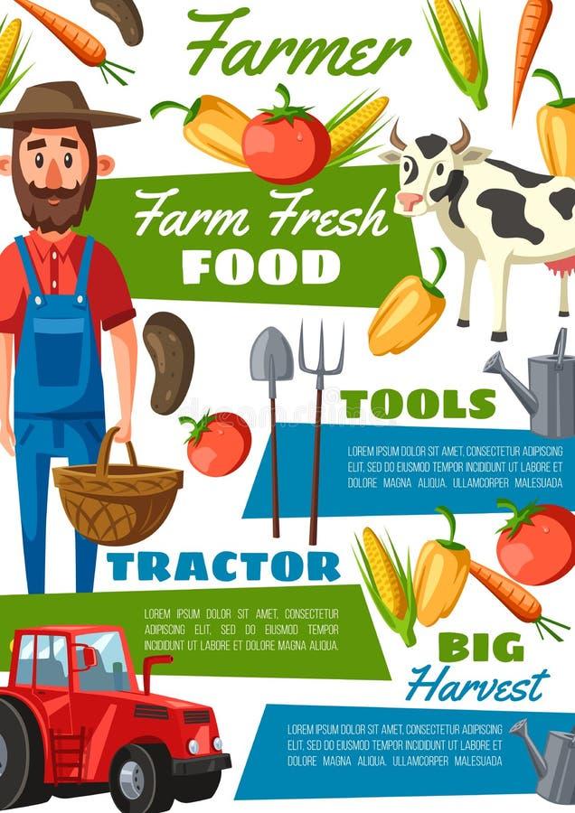 Agricoltore o giardiniere con la mucca, verdure, trattore royalty illustrazione gratis