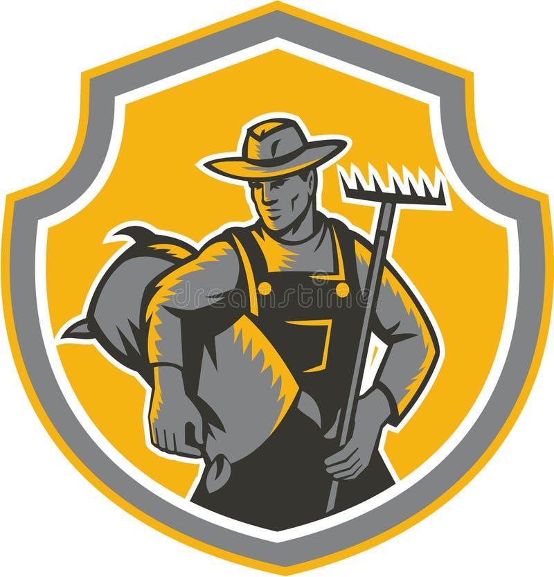 Agricoltore organico Carry Sack Rake Woodcut Retro illustrazione vettoriale