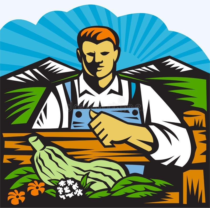 Agricoltore organico Farm Produce Harvest retro royalty illustrazione gratis