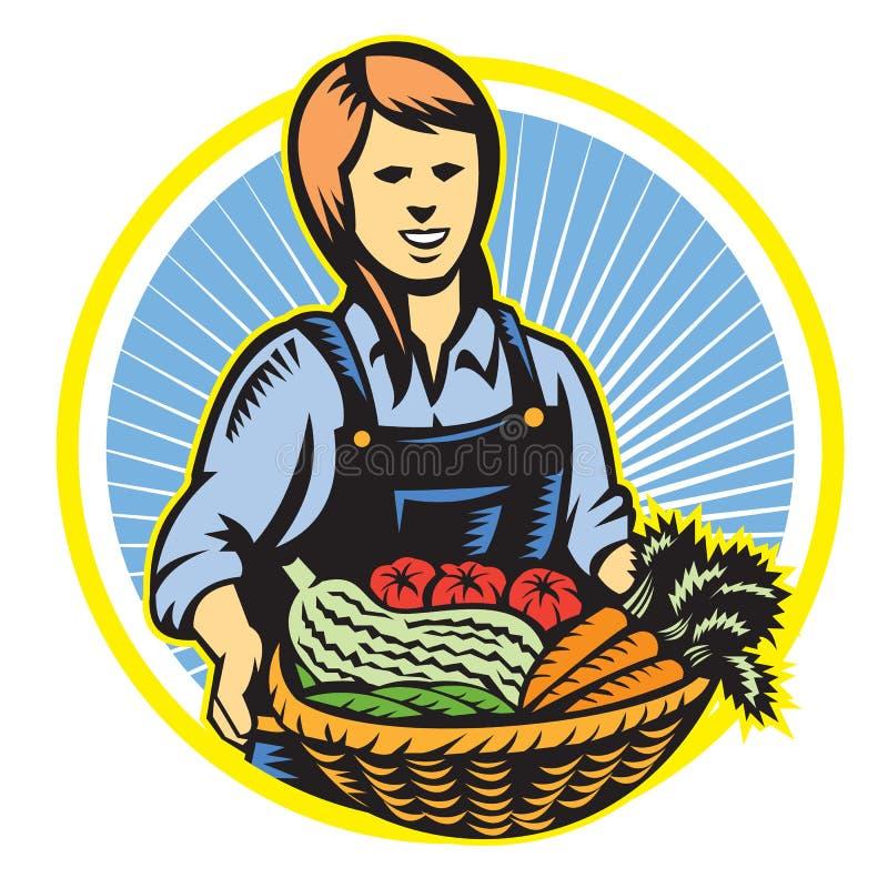 Agricoltore organico Farm Produce Harvest retro illustrazione di stock