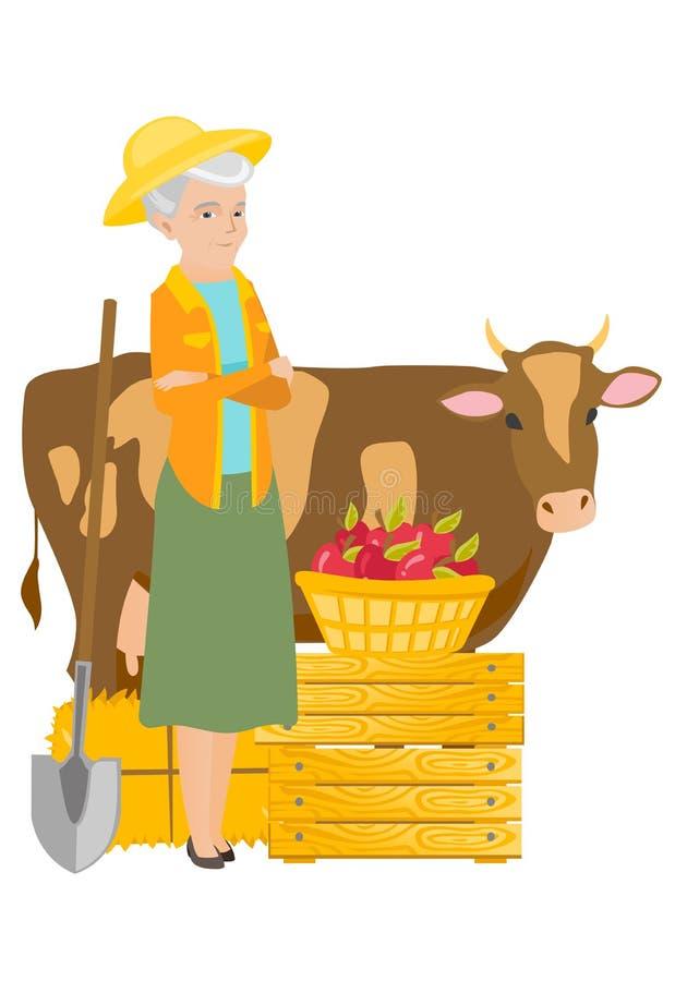 Agricoltore senior che sta con le armi attraversate vicino alla mucca royalty illustrazione gratis