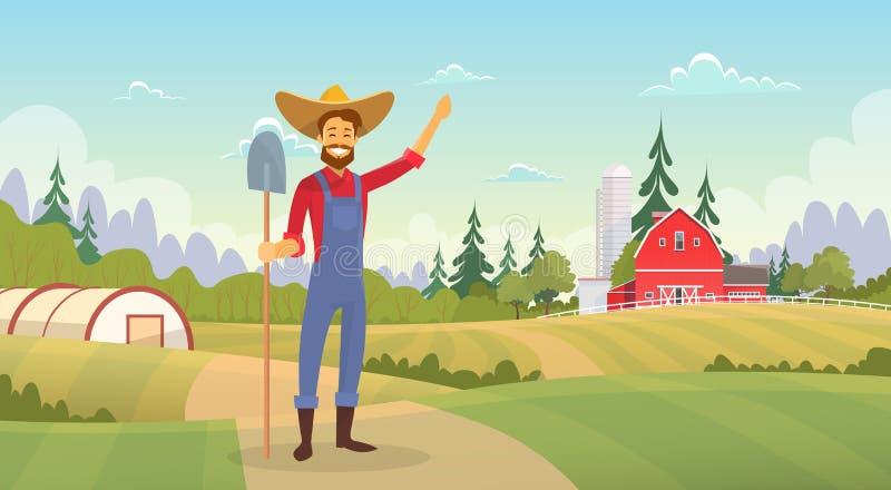 Agricoltore Standing Show Farm, paesaggio della campagna del terreno coltivabile illustrazione di stock