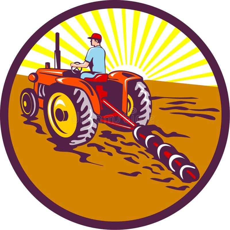 Agricoltore On Tractor Circle retro illustrazione di stock