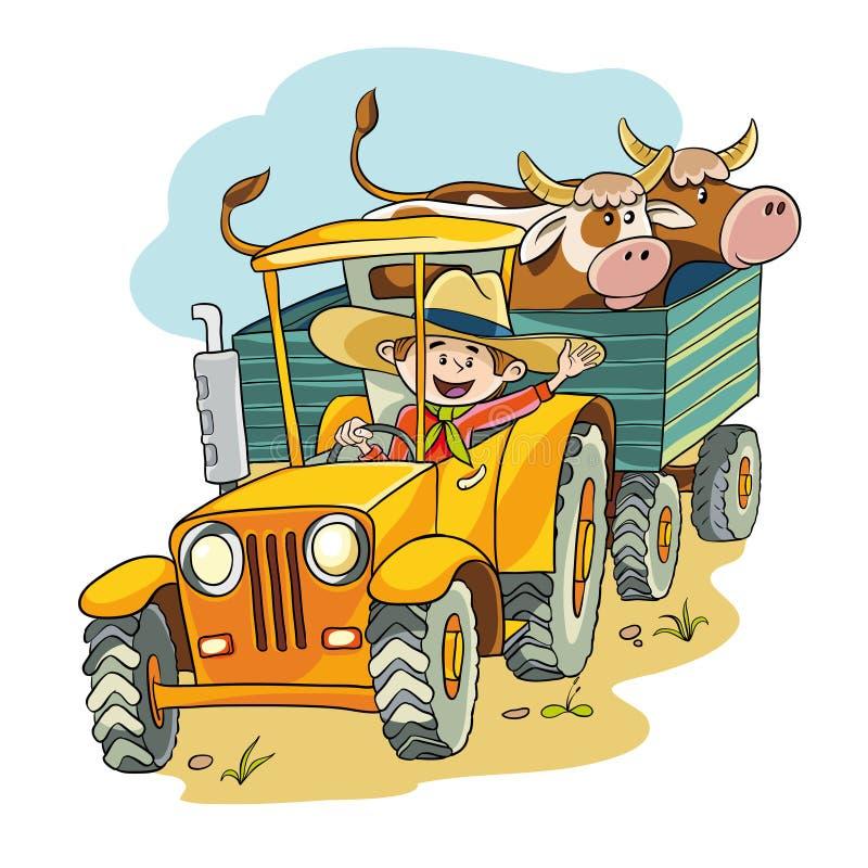 Agricoltore in trattore illustrazione vettoriale