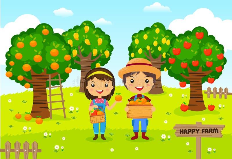 Agricoltori che lavorano nell'azienda agricola della frutta del giardino royalty illustrazione gratis