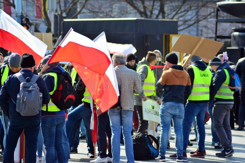 Agricoltori della dimostrazione organizzata unione di Agrounia ad Artur Zawisza Square nel centro di Varsavia immagine stock libera da diritti