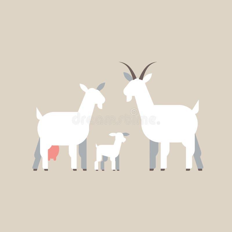 Agricoltura bianca sveglia degli animali domestici dell'azienda agricola del fumetto della famiglia delle capre che pasce pianame royalty illustrazione gratis