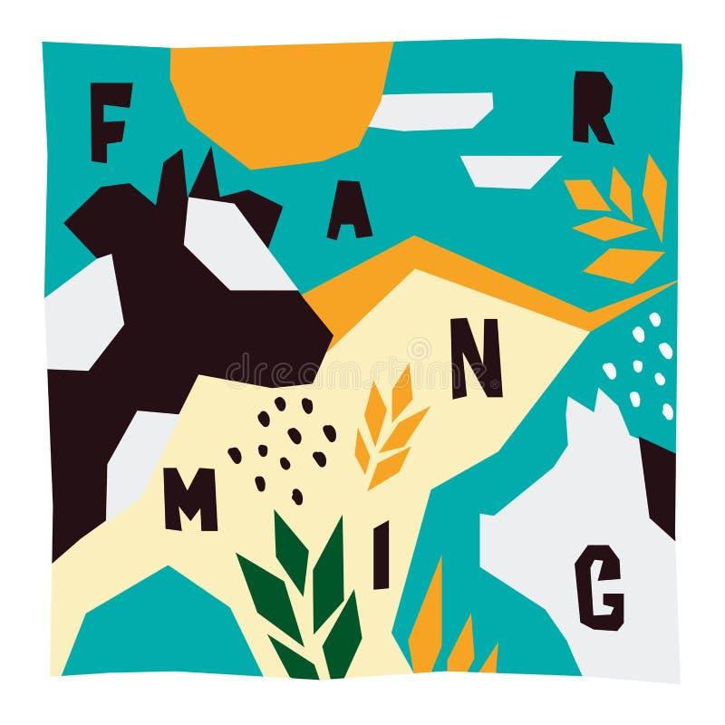 Agricoltura dell'illustrazione Modello con gli animali da allevamento illustrazione di stock
