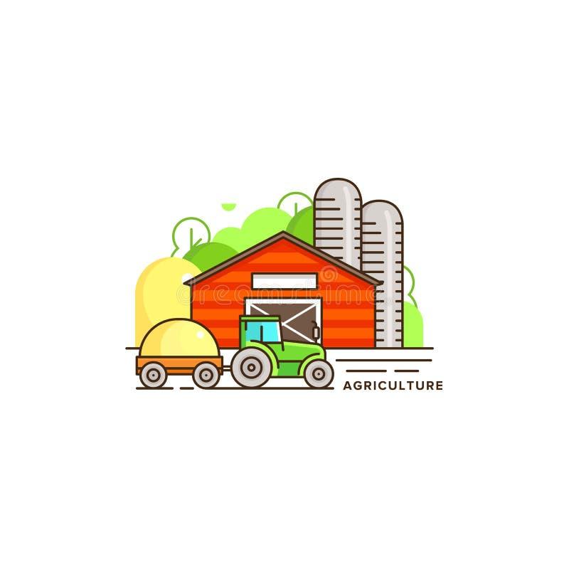 Agricoltura dell'illustrazione piana di vettore nella progettazione lineare La casa ed il trattore dell'azienda agricola con fien illustrazione di stock