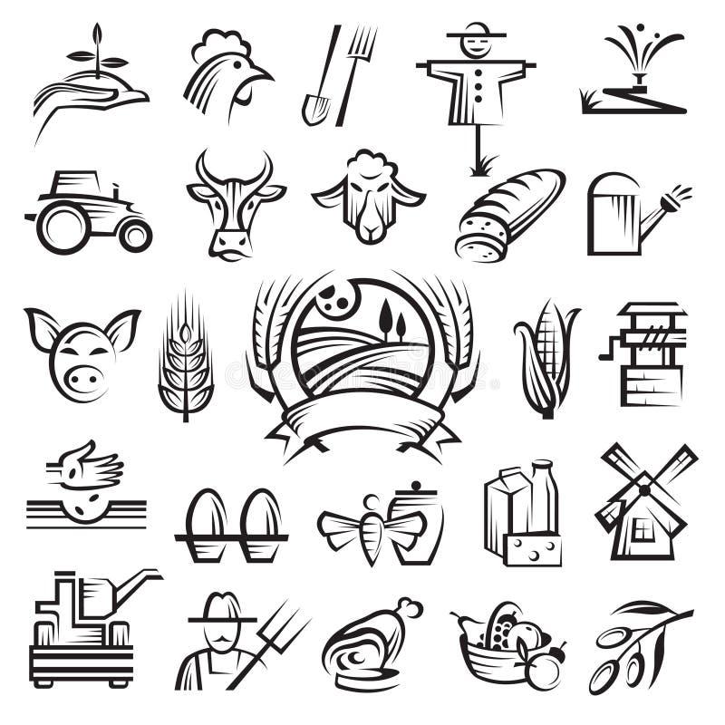 Agricoltura ed icone di azienda agricola royalty illustrazione gratis
