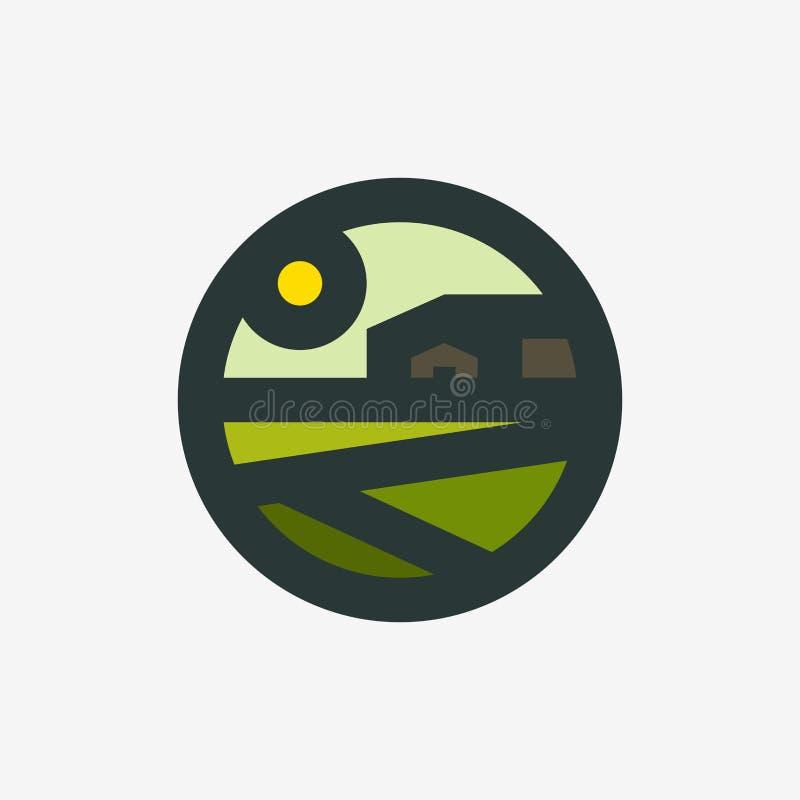 Agricoltura il modello d'annata del segno di logo o dell'icona di paesaggio rurale con il granaio agricolo dell'azienda agricola  illustrazione vettoriale