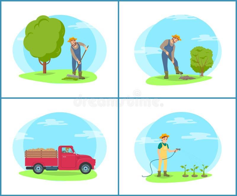 Agriculteur à la ferme avec les outils et la bande dessinée de machines illustration stock