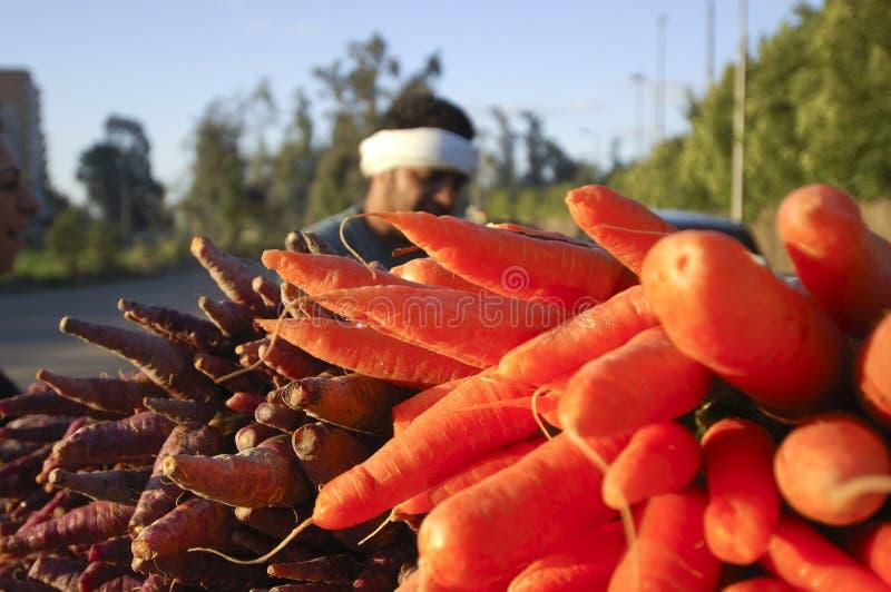 Agriculteur égyptien Selling Carrots Beside la route, le Caire, Egypte dessus images stock
