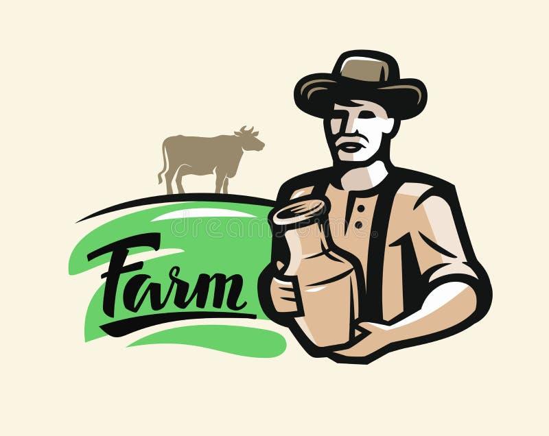 Agriculteur avec du lait illustration libre de droits