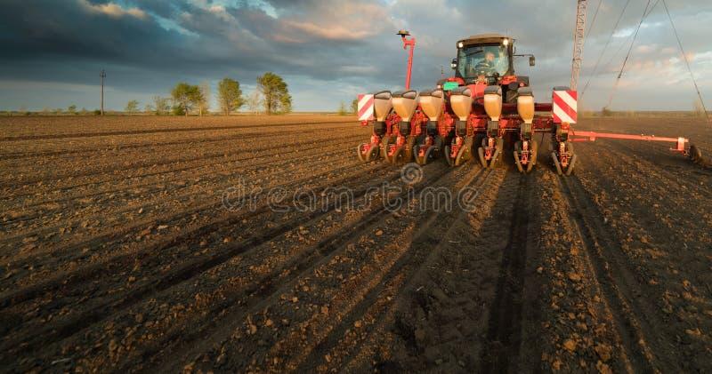Agriculteur avec l'ensemencement de tracteur - l'encemencement cultive au champ agricole photographie stock libre de droits