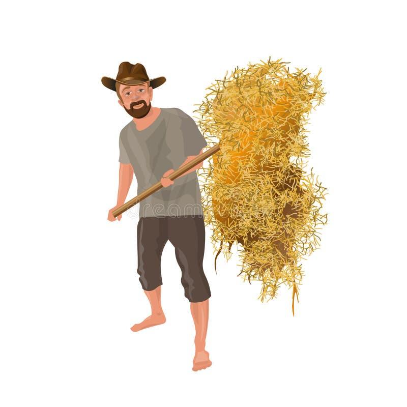 Agriculteur avec une fourche illustration libre de droits