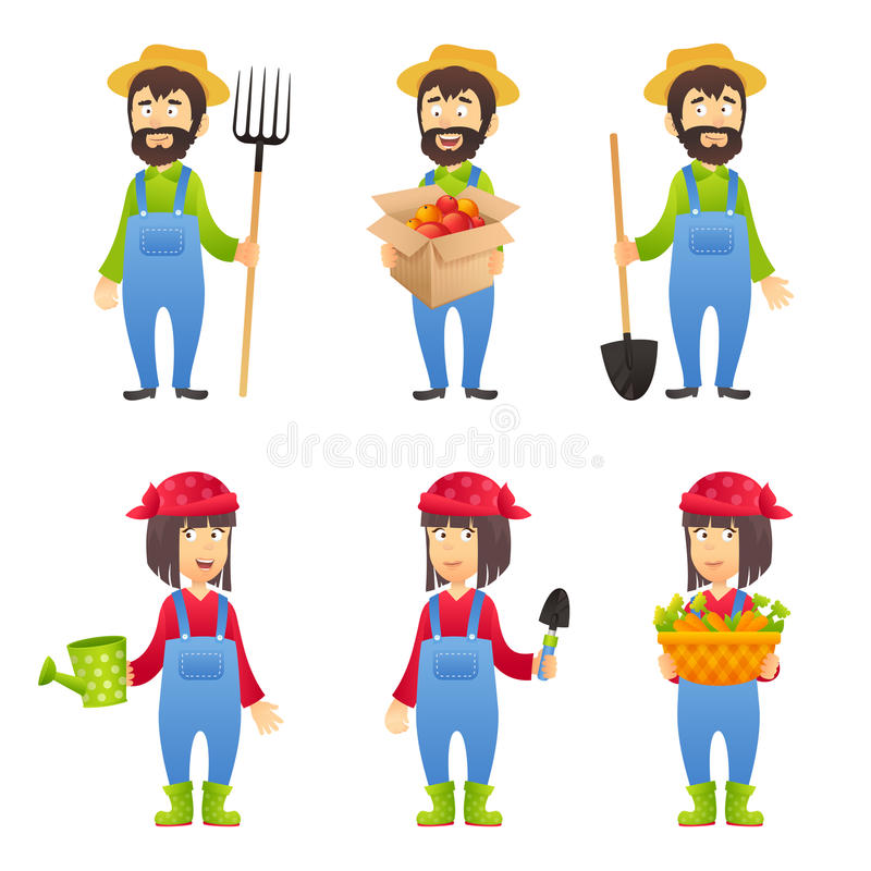 Agriculteur Cartoon Character illustration stock