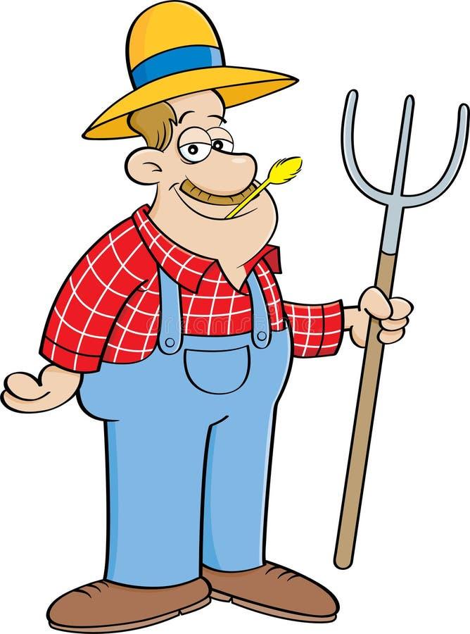 Agriculteur de bande dessinée tenant une fourche illustration de vecteur