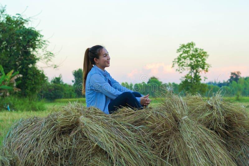 Agriculteur de femmes dans le riz de champ photos stock