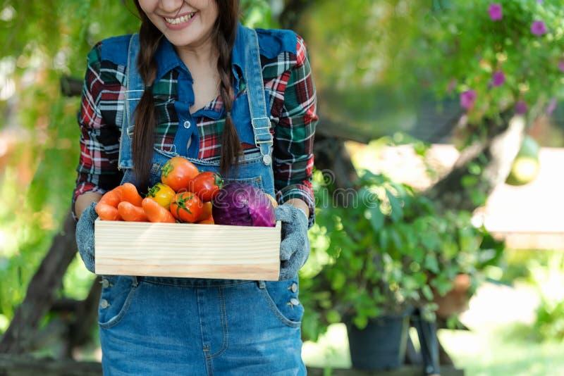 Agriculteur heureux asiatique de femmes jugeant un panier des l?gumes organique dans la campagne d'ext?rieur de vignoble pour la  photographie stock