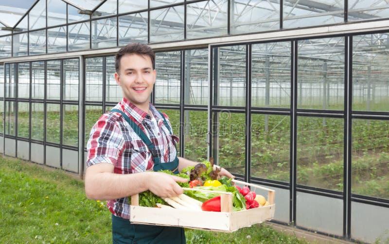 Agriculteur heureux devant une serre chaude avec des légumes images stock