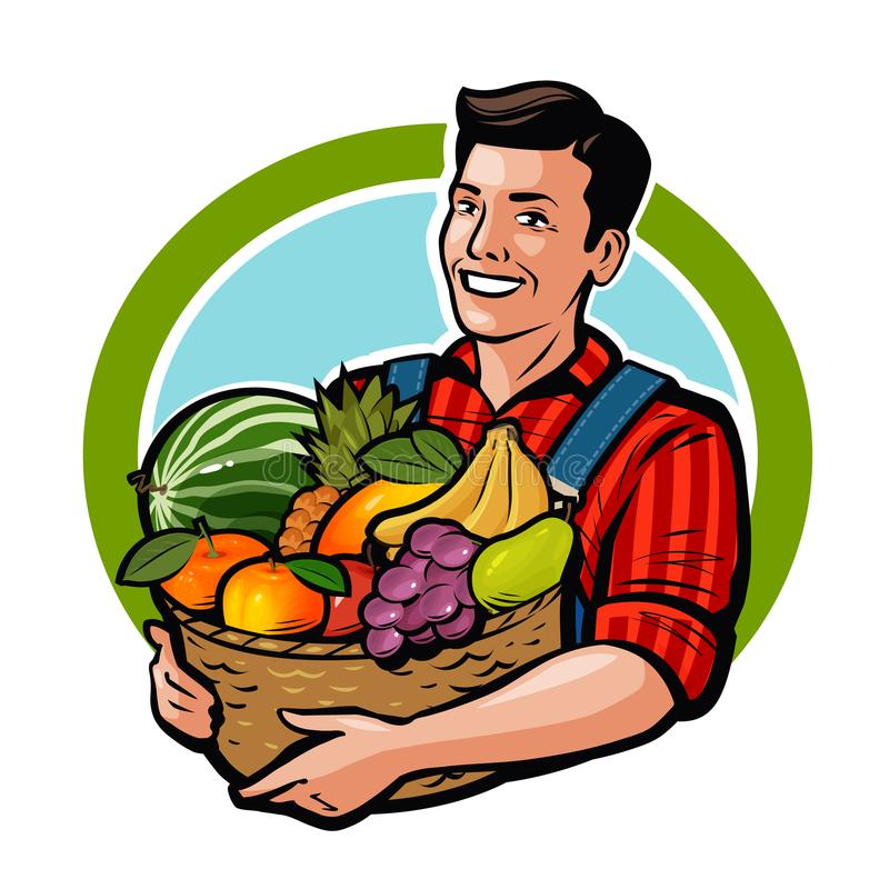 Agriculteur heureux jugeant le panier en osier plein des fruits frais Agriculture, ferme, concept de récolte Illustration de vect illustration libre de droits