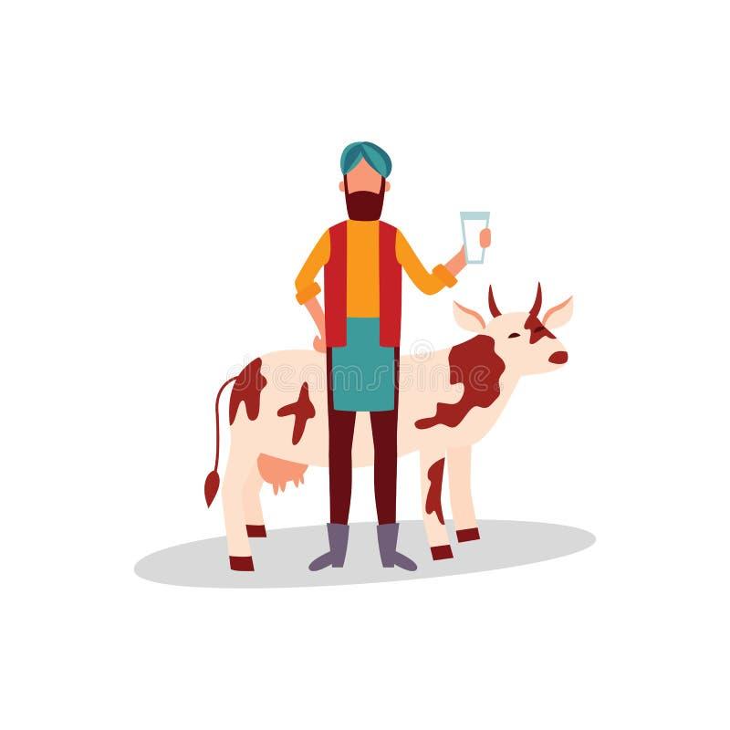 Agriculteur indien dans le turban se tenant avec le verre de style plat de bande dessinée de lait et de vache illustration libre de droits
