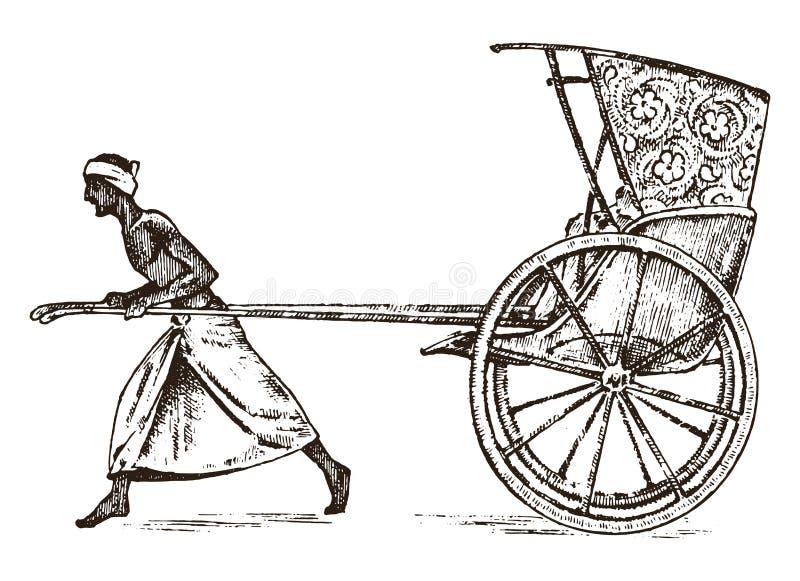 Agriculteur indou avec le pousse-pousse, fonctionnant avec un chariot illustration libre de droits