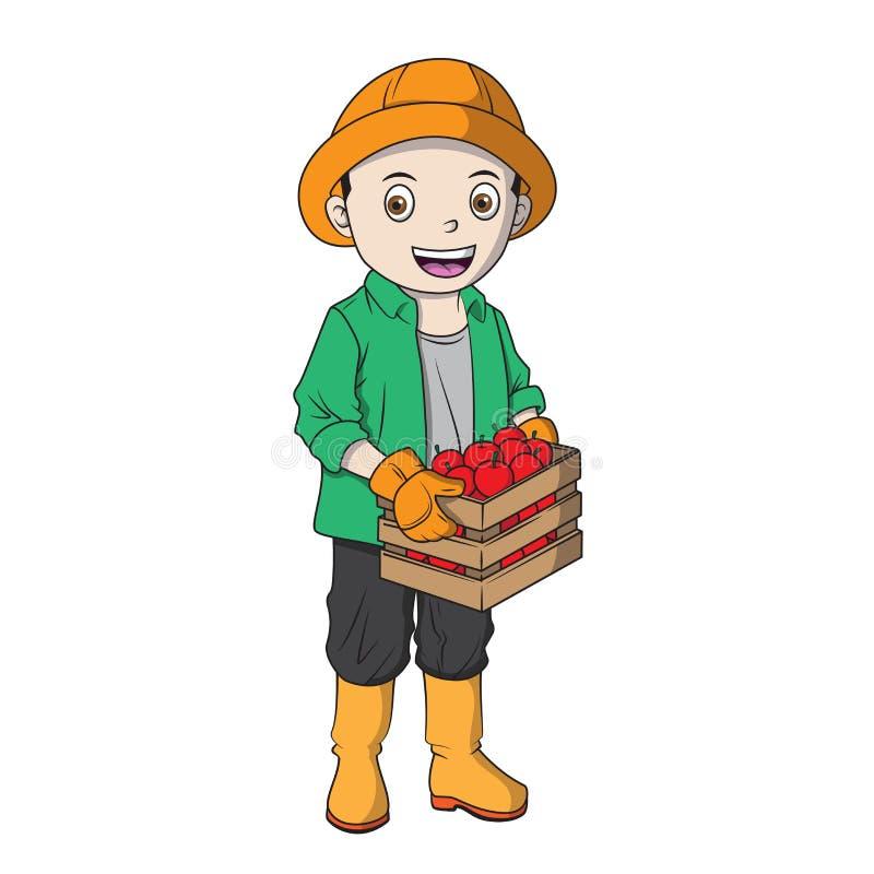 Agriculteur masculin Holding de bande dessinée une boîte de pomme illustration libre de droits