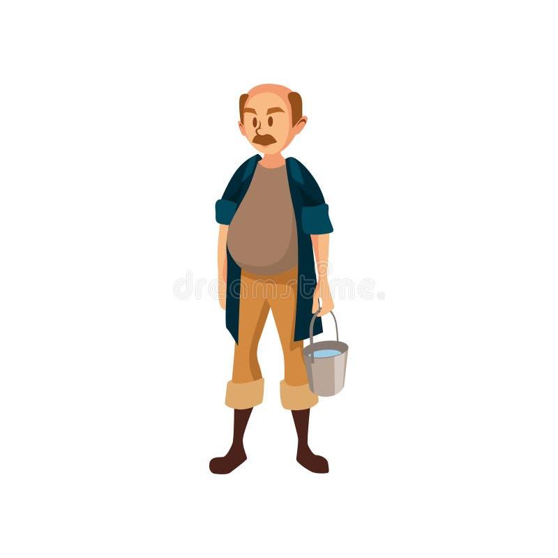 Agriculteur masculin mûr se tenant avec le seau, jardinier à l'illustration de vecteur de bande dessinée de travail illustration de vecteur