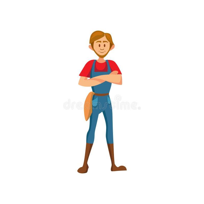 Agriculteur masculin se tenant avec l'illustration pliée de vecteur de bande dessinée de mains illustration stock