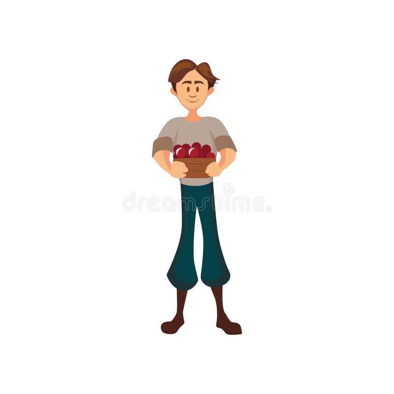 Agriculteur masculin se tenant avec le panier de la cerise, jardinier moissonnant l'illustration de vecteur de bande dessinée de  illustration libre de droits