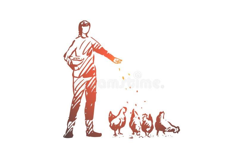 Agriculteur, poulet, oeuf, animal, concept de poule Vecteur d'isolement tiré par la main illustration libre de droits