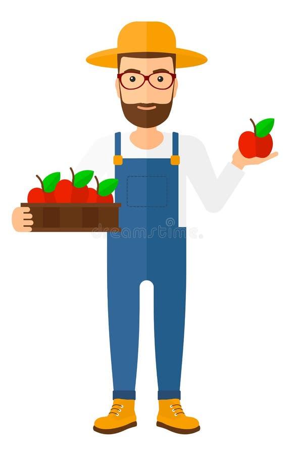 Agriculteur rassemblant des pommes illustration libre de droits