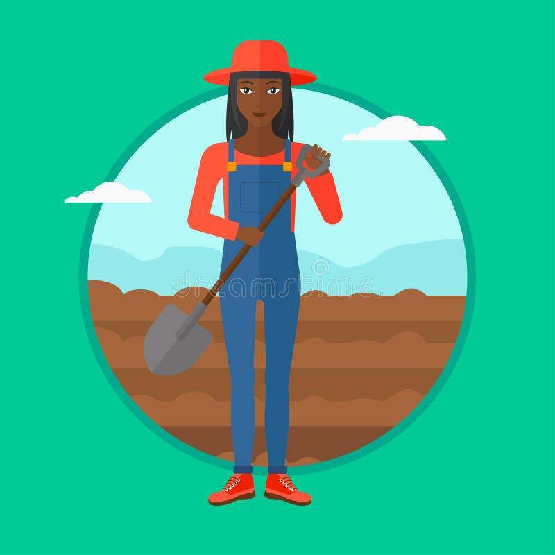 Agriculteur sur le champ avec la pelle illustration libre de droits