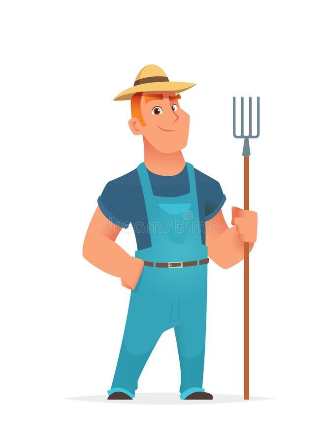 Agriculteur tenant et tenant la fourchette agricole d'outil ou de ferme illustration stock